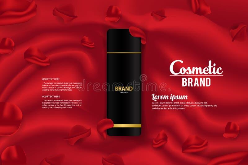 Diseño de empaquetado de la plantilla del vector de la bandera del producto cosmético de los anuncios stock de ilustración