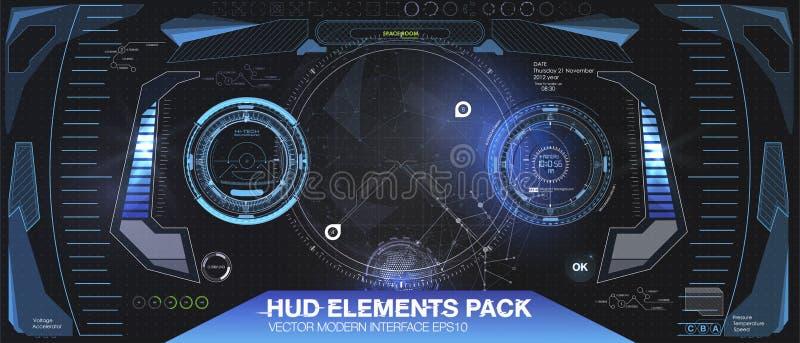 Diseño de exhibición futurista de la cabeza-para arriba de VR Casco HUD de la ciencia ficción Diseño futuro de la tecnología libre illustration