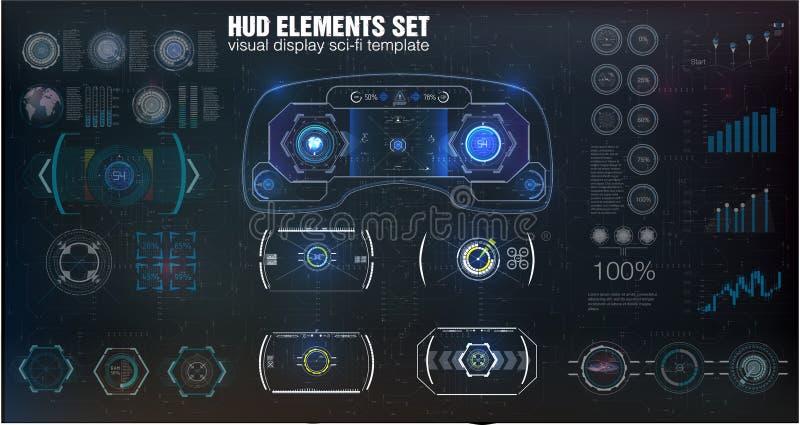 Diseño de exhibición futurista de la cabeza-para arriba de VR Casco HUD de la ciencia ficción Visualización futura de la tecnolog libre illustration