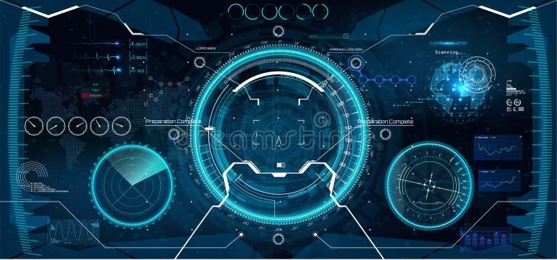 Diseño de exhibición futurista de la cabeza-para arriba de VR libre illustration
