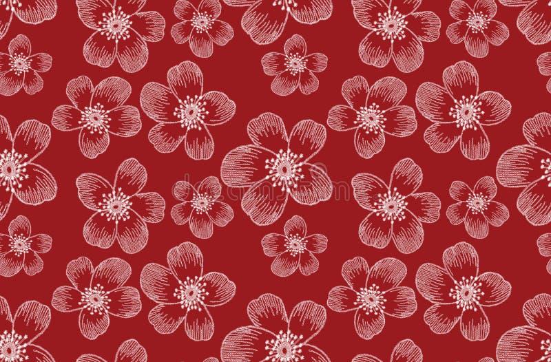 Diseño de flores sin bordado. Plantilla de arte de la moda para ropa, diseño de camisetas, textiles, papel pintado, rellenos de  ilustración del vector
