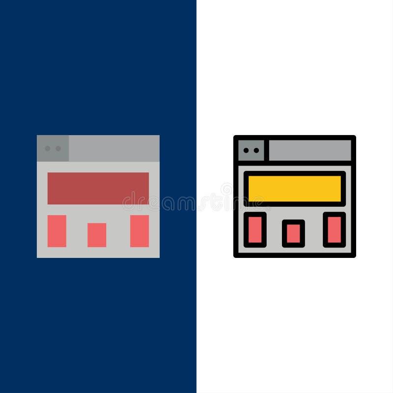 Diseño de gráficos, iconos de la disposición El plano y la línea icono llenado fijaron el fondo azul del vector ilustración del vector