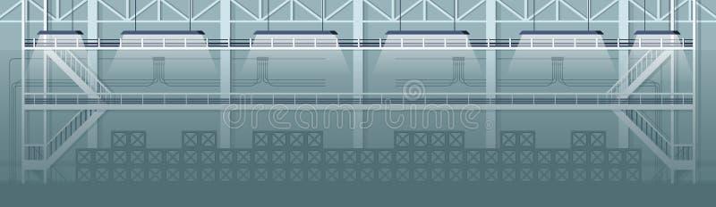 Diseño de Grey Empty Warehouse Industrial Interior stock de ilustración