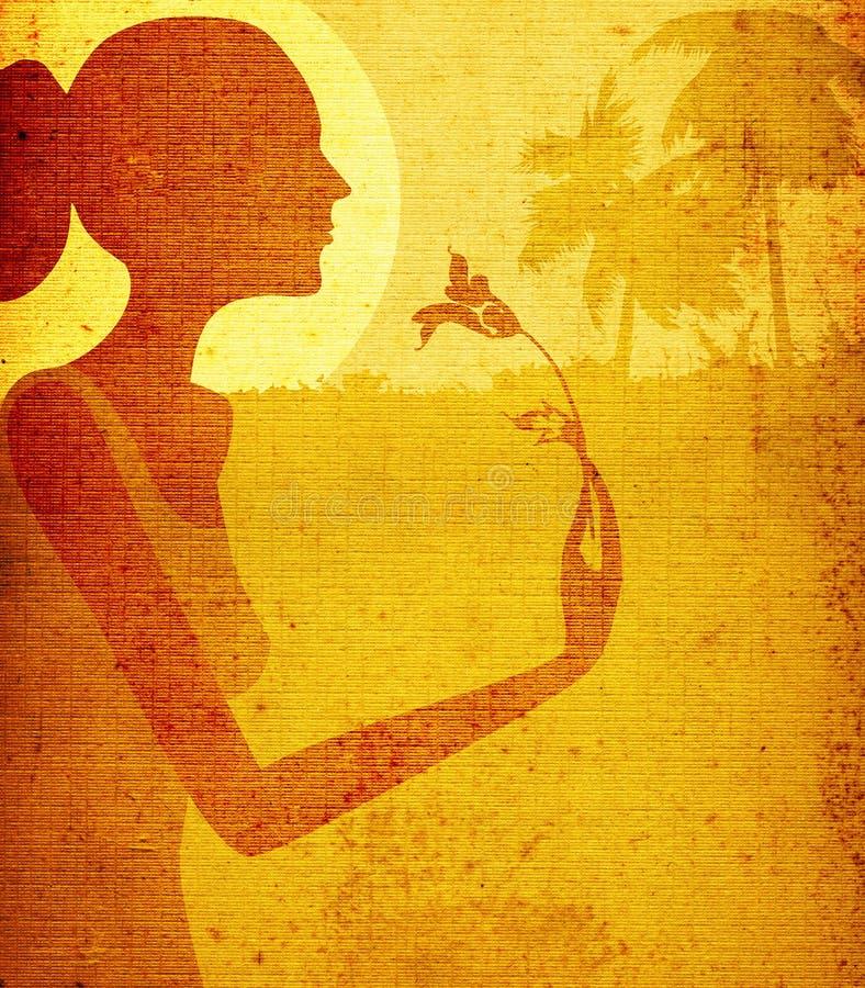 Diseño de Grunge, mujer con la flor stock de ilustración