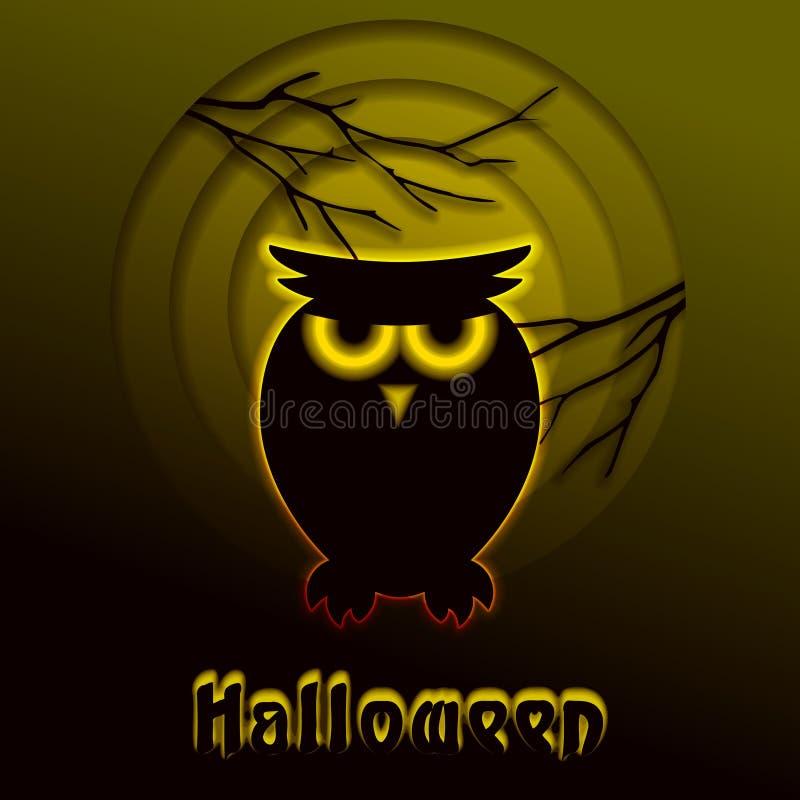 Diseño de Halloween del corte del papel del búho que brilla intensamente ilustración del vector