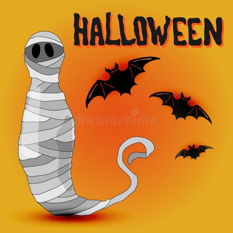 Diseño de Halloween de la historieta con la momia y los palos ilustración del vector