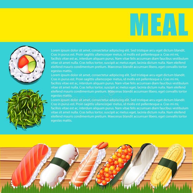 Diseño de Infographic con la comida japonesa libre illustration