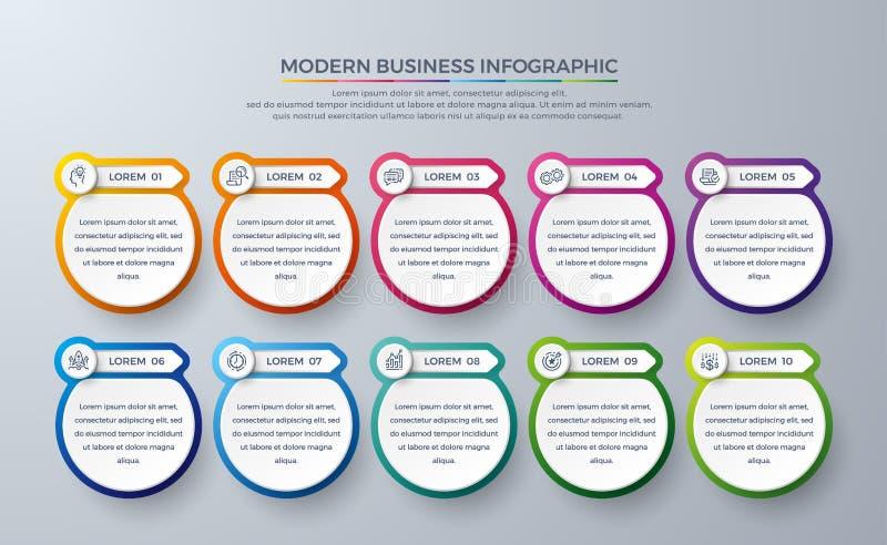 Diseño de Infographic con 10 opciones o pasos de proceso Elementos para su negocio tal como informes, prospectos, folletos del di ilustración del vector