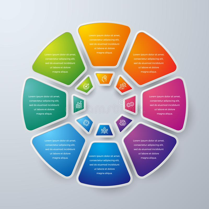 Dise?o de Infographic del negocio con 8 opciones o pasos de proceso Elementos para su negocio tal como informes, folletos del dis ilustración del vector