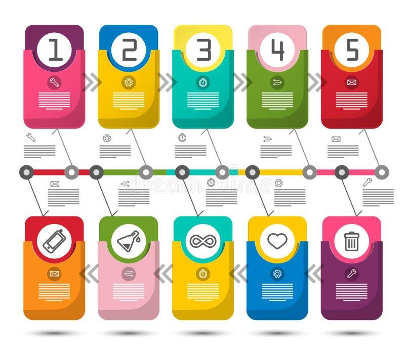 Diseño de Infographic del vector de cinco pasos stock de ilustración