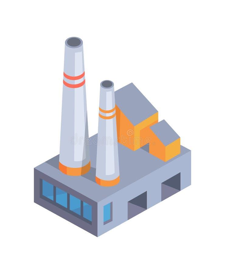 Diseño de instalaciones, disposición constructiva, bandera colorida stock de ilustración