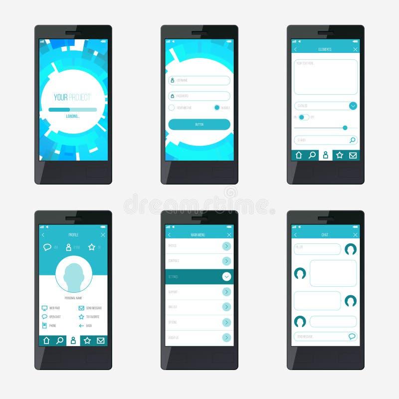 Diseño de interfaz de la aplicación móvil de la plantilla libre illustration