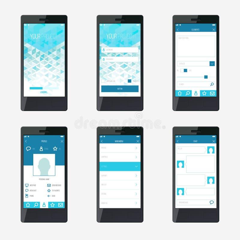 Diseño de interfaz de la aplicación móvil de la plantilla stock de ilustración