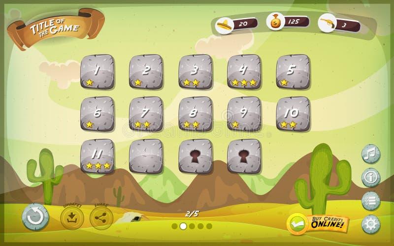 Diseño de interfaz de usuario del juego del desierto para la tableta stock de ilustración