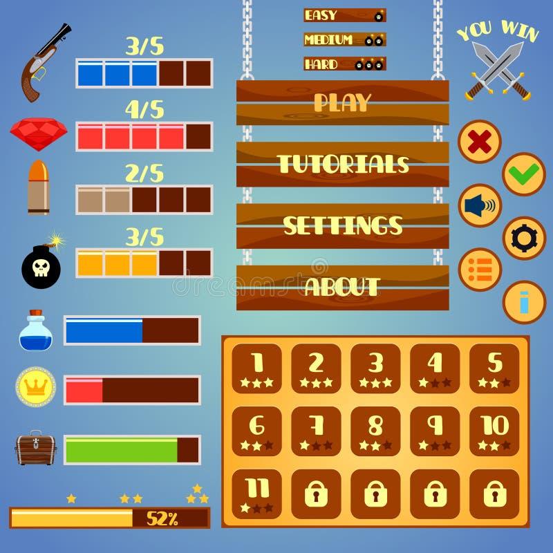 Diseño de interfaz del juego stock de ilustración