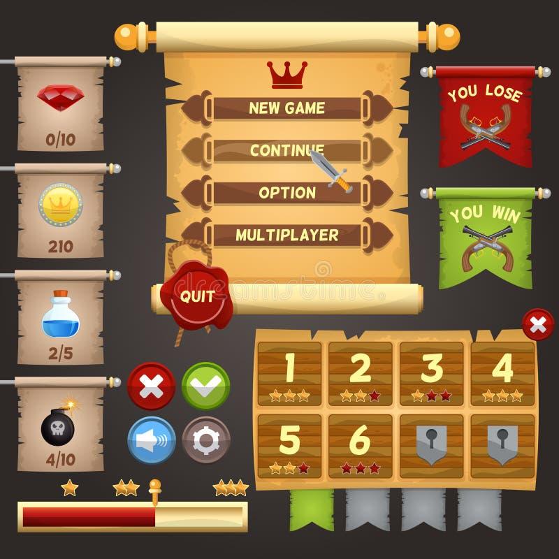 Diseño de interfaz del juego ilustración del vector