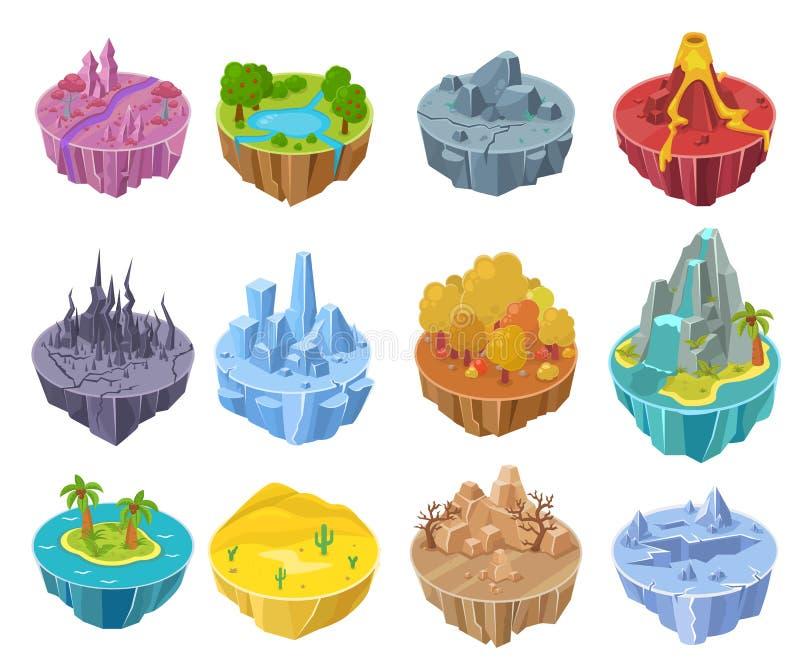 Diseño de interfaz del paisaje de la historieta del vector del juego de la isla en las montañas determinadas isométricas de los á ilustración del vector