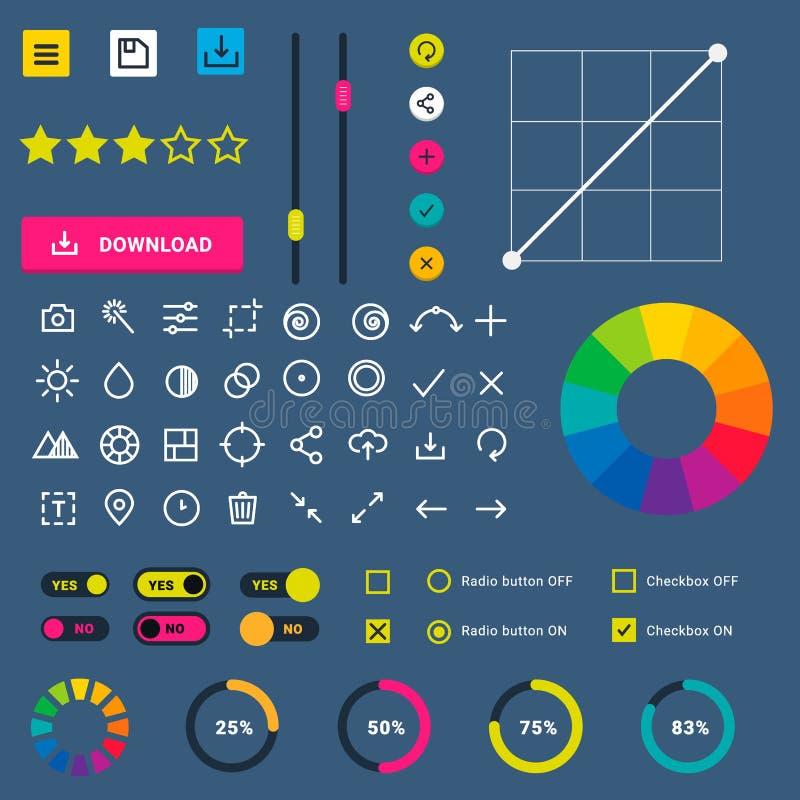 Diseño de interfaz móvil del web de ui-UX del progreso de la transferencia directa de los indicadores del app del dispositivo de  libre illustration