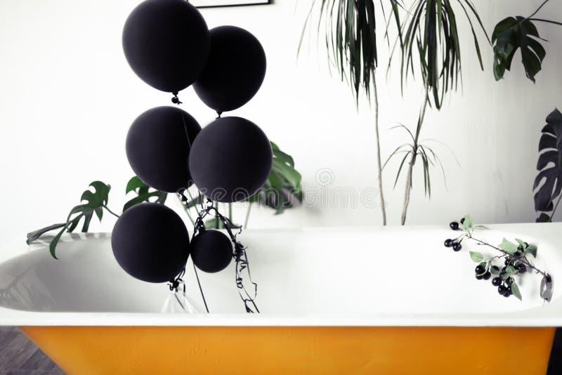 Diseño de interior del desván del cuarto de baño o del sitio Paredes blancas con el copyspace libre Verde de la tendencia - hojas foto de archivo libre de regalías