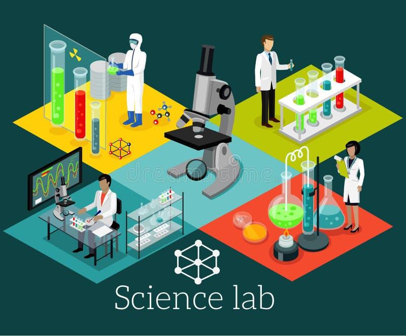 Diseño de Isomatric del laboratorio de ciencia plano stock de ilustración