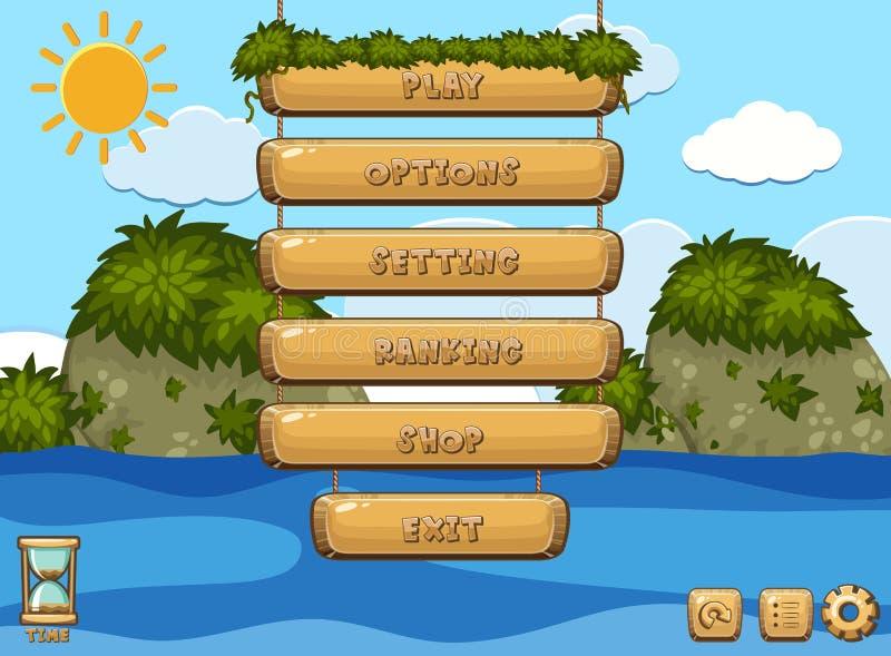 Diseño de juego con el océano en fondo libre illustration