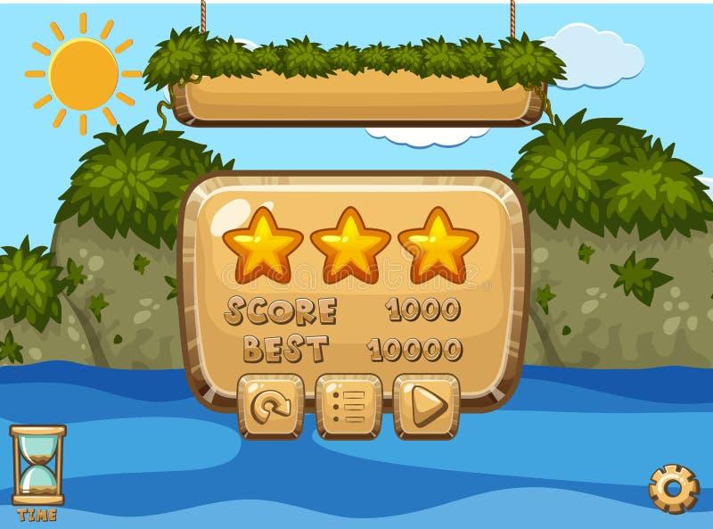 Diseño de juego con el océano y las montañas en fondo stock de ilustración