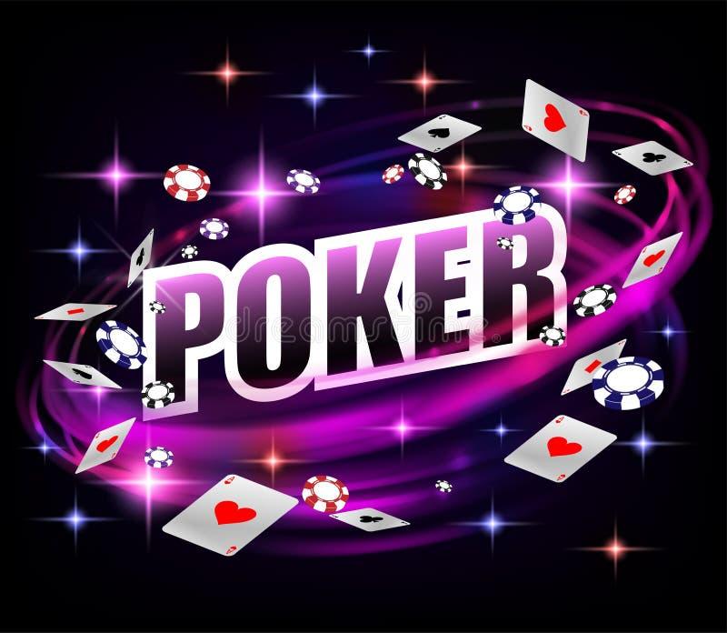 Diseño de juego del fondo del póker del casino Bandera del póker con los microprocesadores y los naipes Oscuridad brillante en lí stock de ilustración