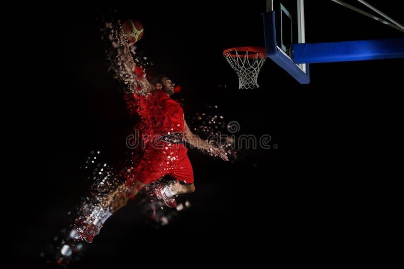 Diseño de jugador de básquet en la acción foto de archivo