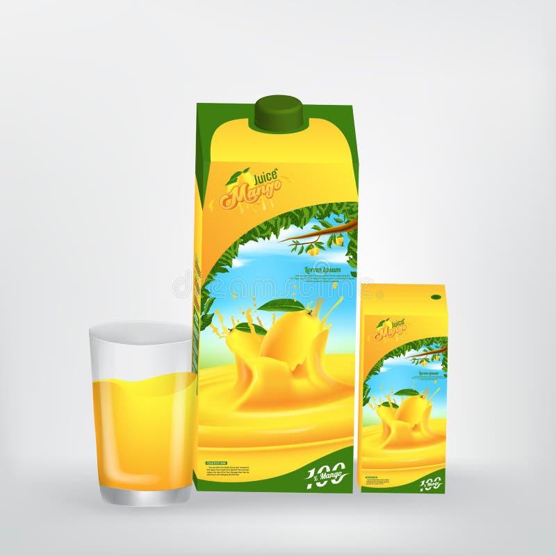 Diseño de Juice Product Packaging Vector Concept del mango ilustración del vector