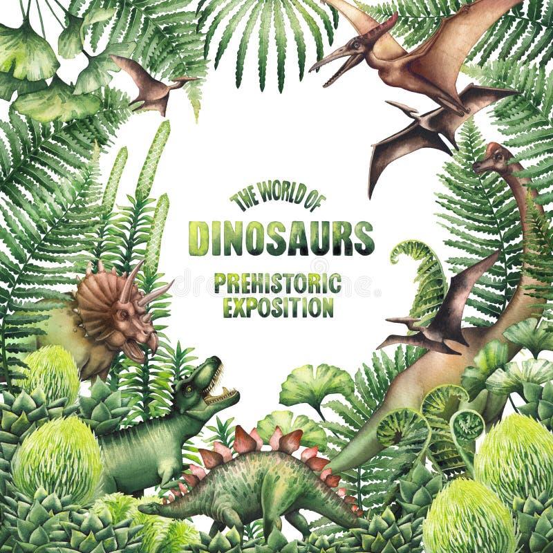 Diseño de la acuarela con las plantas y los dinosaurios prehistóricos libre illustration
