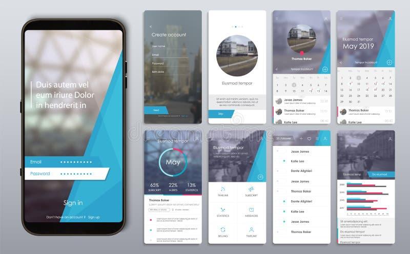 Diseño de la aplicación móvil, UI, UX, GUI stock de ilustración