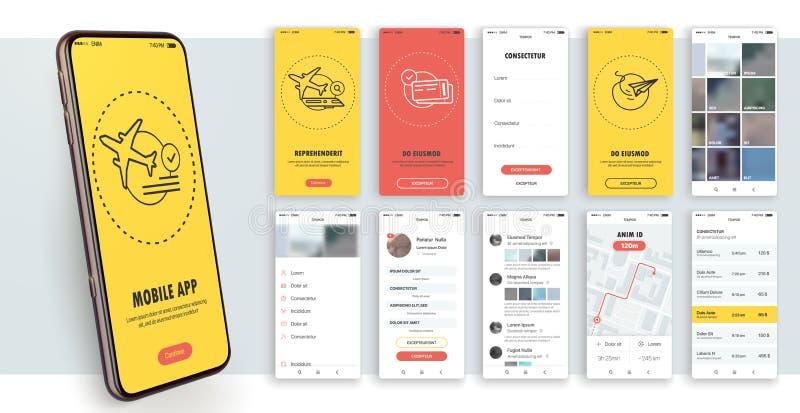 Diseño de la aplicación móvil, UI, UX Un sistema de pantallas del GUI con la entrada del inicio de sesión y de la contraseña stock de ilustración