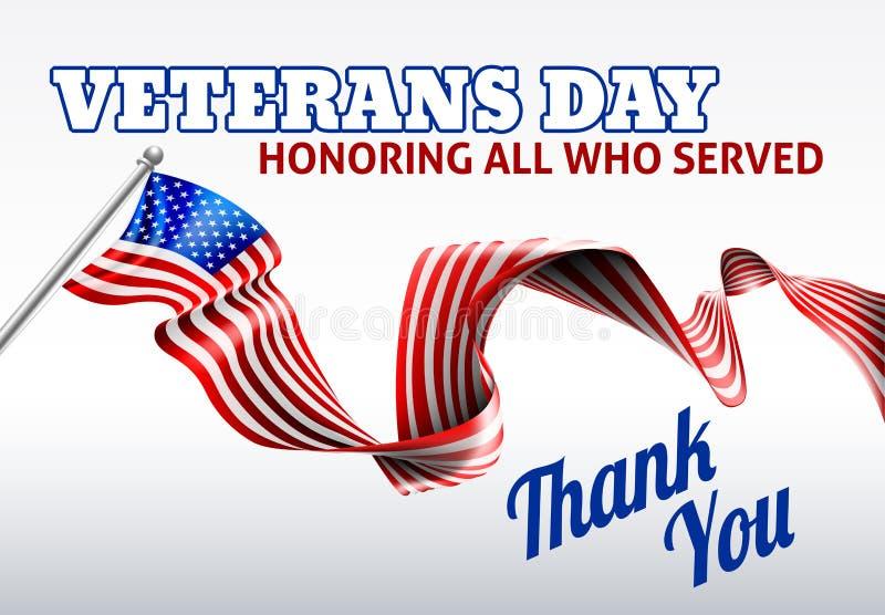 Diseño de la bandera americana del día de veteranos ilustración del vector