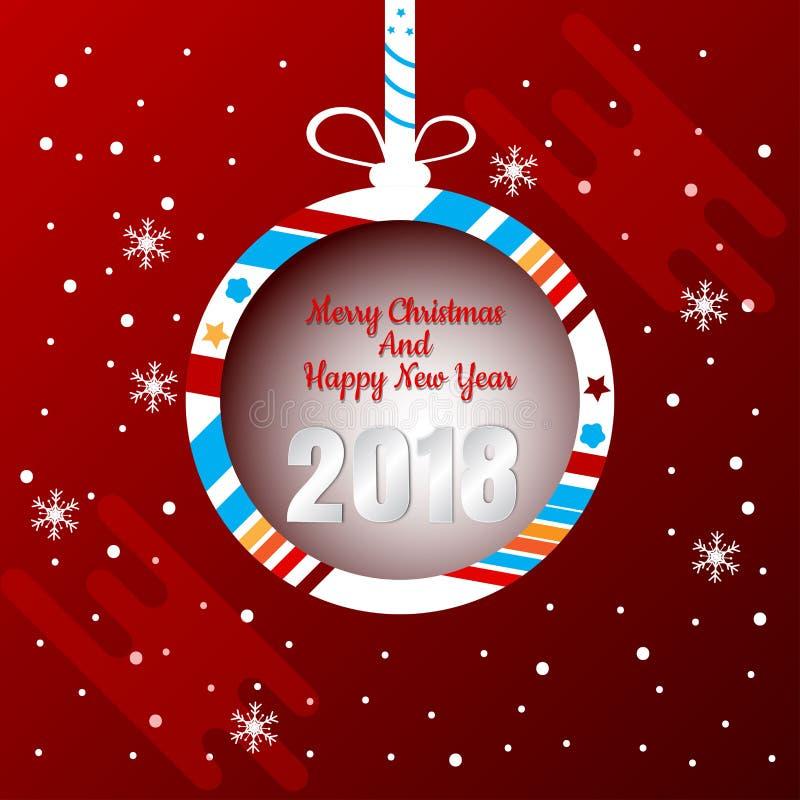 Diseño de la bandera de la bola de la Navidad con la Feliz Navidad y la Feliz Año Nuevo 2018 ejemplo abstracto del vector libre illustration