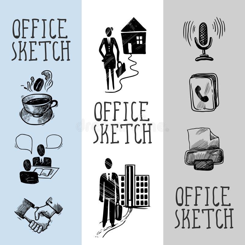Diseño de la bandera del bosquejo de la oficina libre illustration