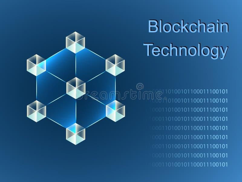 Diseño de la bandera del resbalador del concepto de Blockchain ilustración del vector