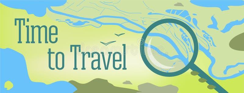 Diseño de la bandera del vector con tiempo del texto para viajar Ejemplo de un mapa del mundo, con el mar, lagos, montañas ilustración del vector
