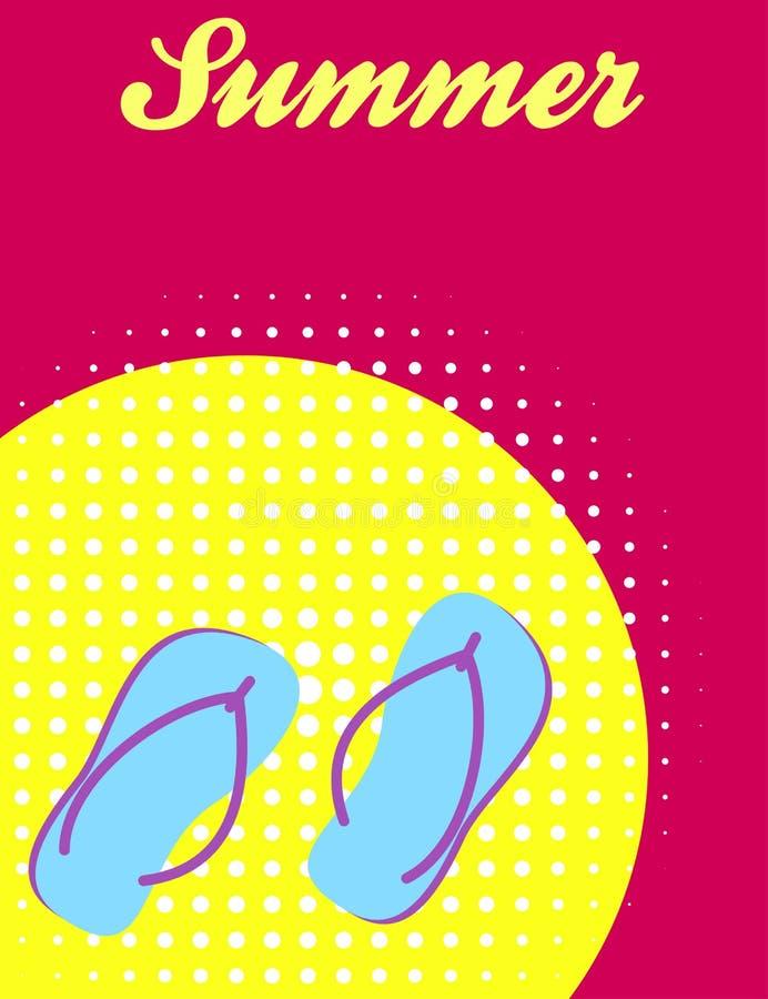 Diseño de la bandera del verano con chancletas ilustración del vector
