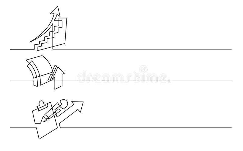 Diseño de la bandera - dibujo lineal continuo de los iconos del negocio: carta de levantamiento, símbolo del crecimiento, analyti libre illustration