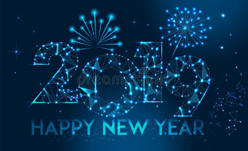 Diseño 2019 de la bandera de la Feliz Año Nuevo Tarjeta de felicitación poligonal geométrica del Año Nuevo 2019 Fondo de los fueg stock de ilustración