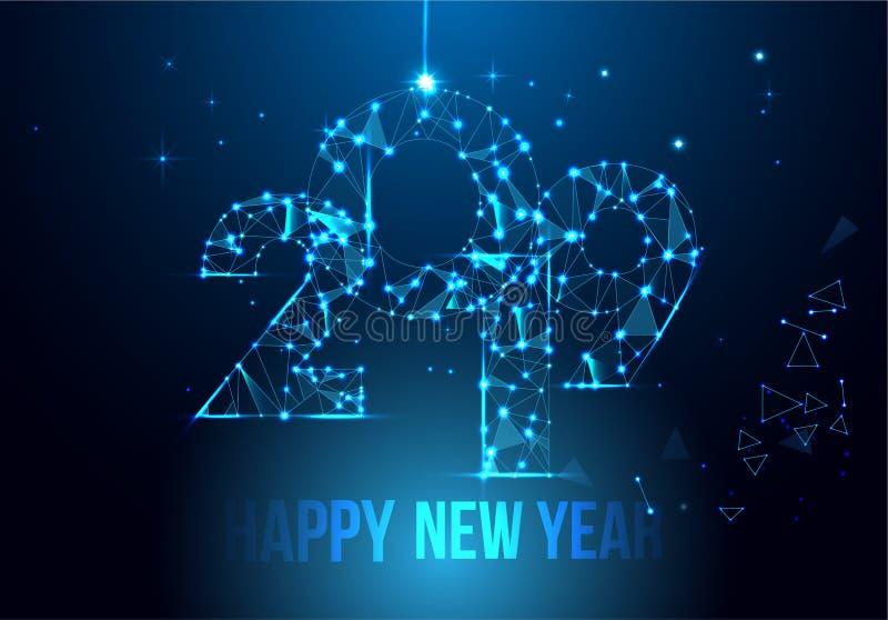 Diseño 2019 de la bandera de la Feliz Año Nuevo Tarjeta de felicitación poligonal geométrica del Año Nuevo 2019 Fondo de los fueg ilustración del vector