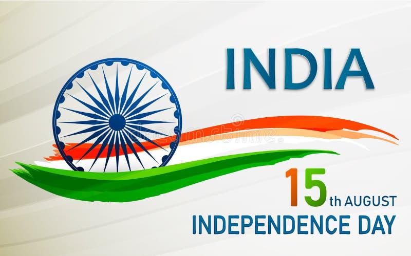 Diseño de la bandera o del aviador para el 15 de agosto, celebración feliz del Día de la Independencia Ilustración del vector stock de ilustración