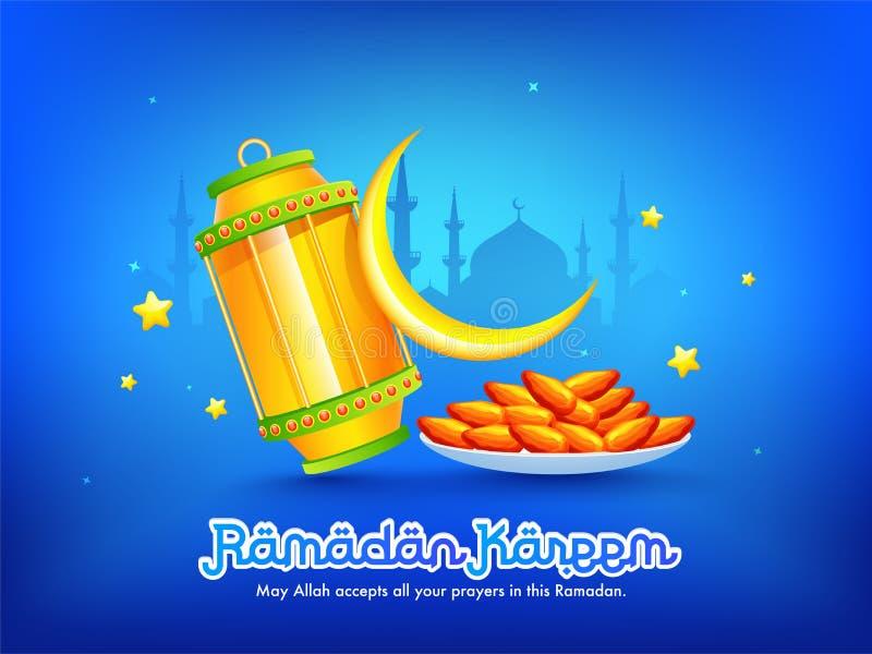 Diseño de la bandera o del cartel de la celebración de Ramadan Kareem con el mensaje, ejemplo de la celebración del Ramadán ilustración del vector