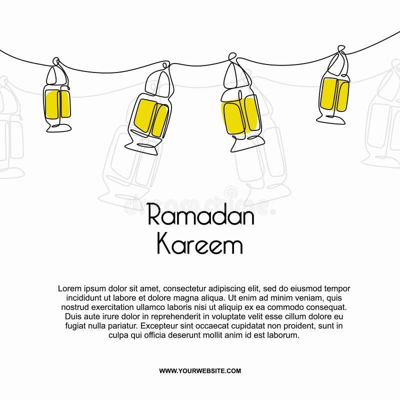 Dise?o de la bandera de la plantilla del kareem del Ramad?n con estilo continuo decorativo del dibujo lineal de la linterna ilustración del vector