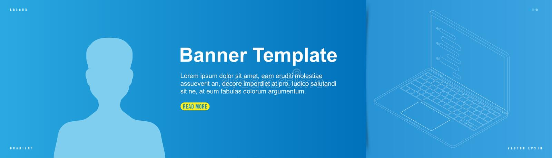 Diseño de la bandera de la plantilla para el sitio web con el icono del avatar en el fondo Ordenador portátil del dibujo de esque stock de ilustración