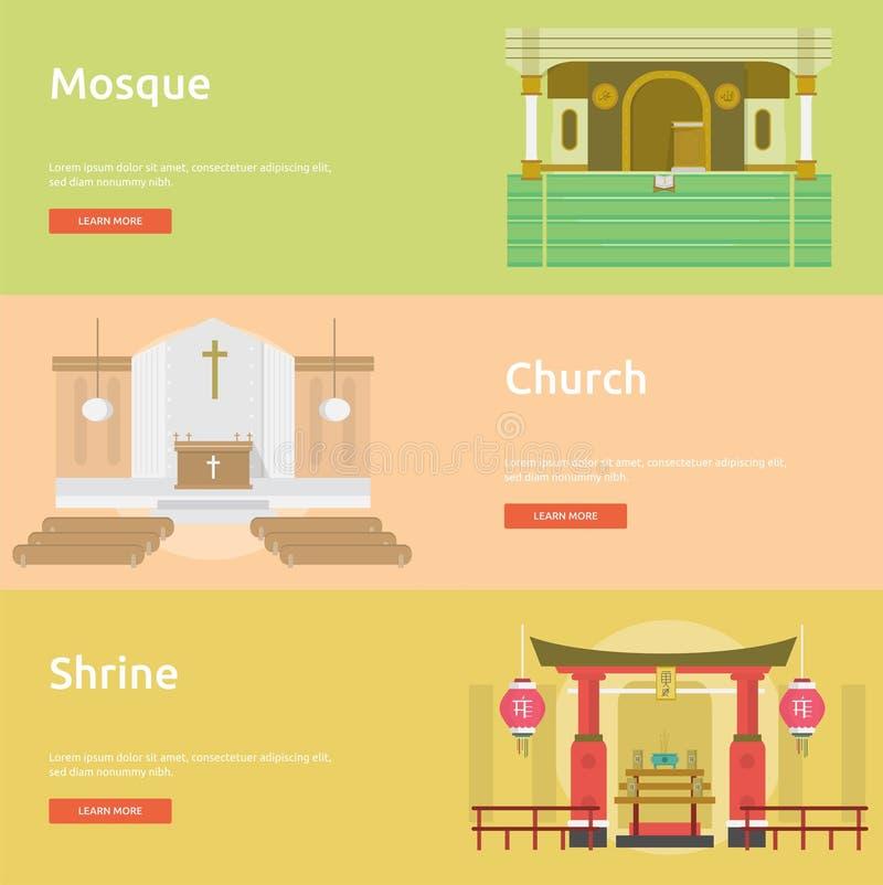 Diseño de la bandera de la religión stock de ilustración