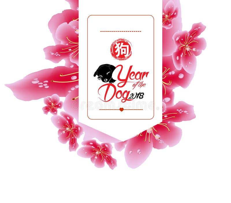 Diseño de la bandera de la venta de la primavera con el flor de Sakura Jeroglífico chino 2018 del Año Nuevo: Perro stock de ilustración
