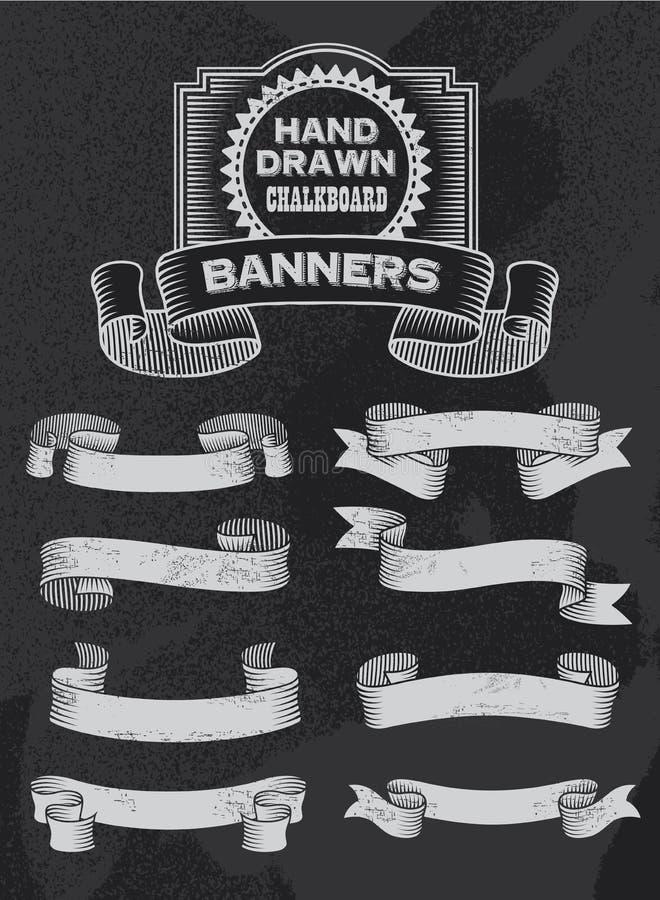 Diseño de la bandera y de la cinta del vector de la pizarra del vintage ilustración del vector