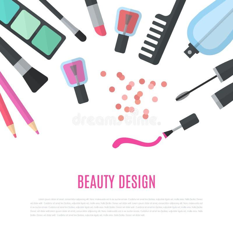 Diseño de la belleza Accesorios cosméticos para el maquillaje ilustración del vector