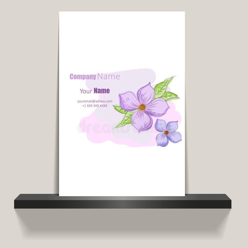Diseño de la caja del perfume con diseño del aviador o de la cubierta del illustrationAbstract del gato negro con las flores púrp ilustración del vector